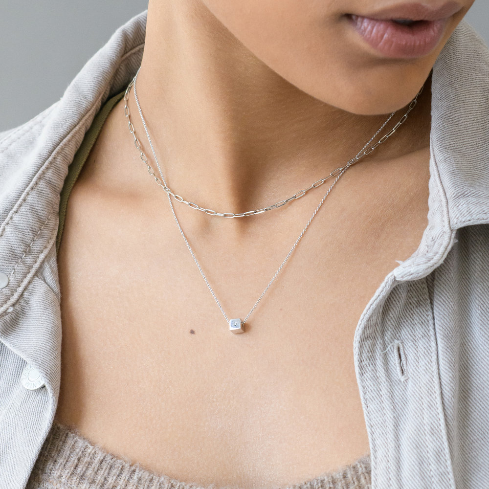 Initial Dice Necklace - Sterling Silver - 5