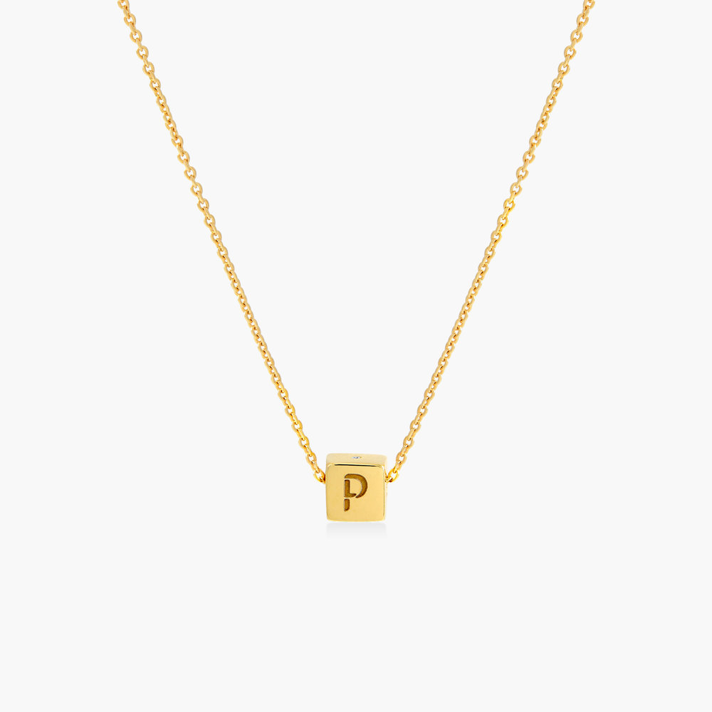 Initial Dice Necklace - Gold Plating