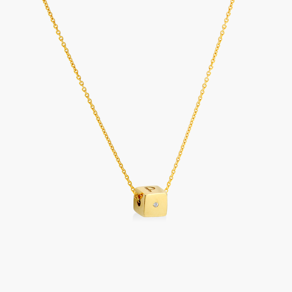 Initial Dice Necklace - Gold Plating - 1