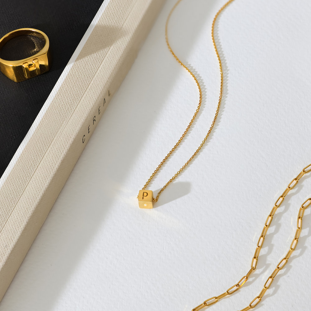 Initial Dice Necklace - Gold Plating - 2