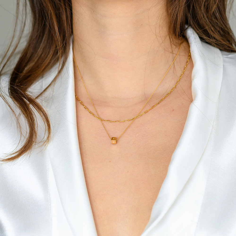 Initial Dice Necklace - Gold Plating - 5