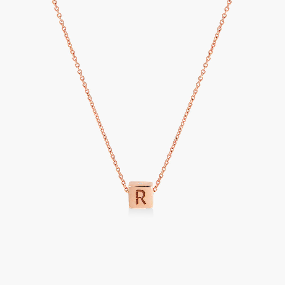 Initial Dice Necklace - Rose Gold Plating