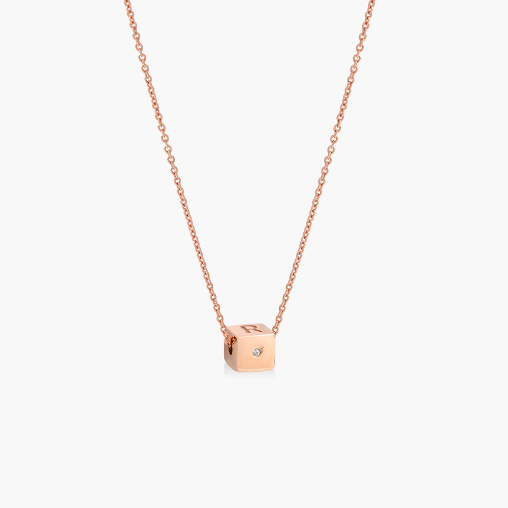 Initial Dice Necklace - Rose Gold Plating - 1