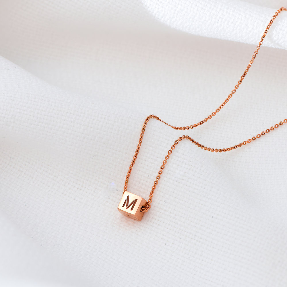 Initial Dice Necklace - Rose Gold Plating - 2