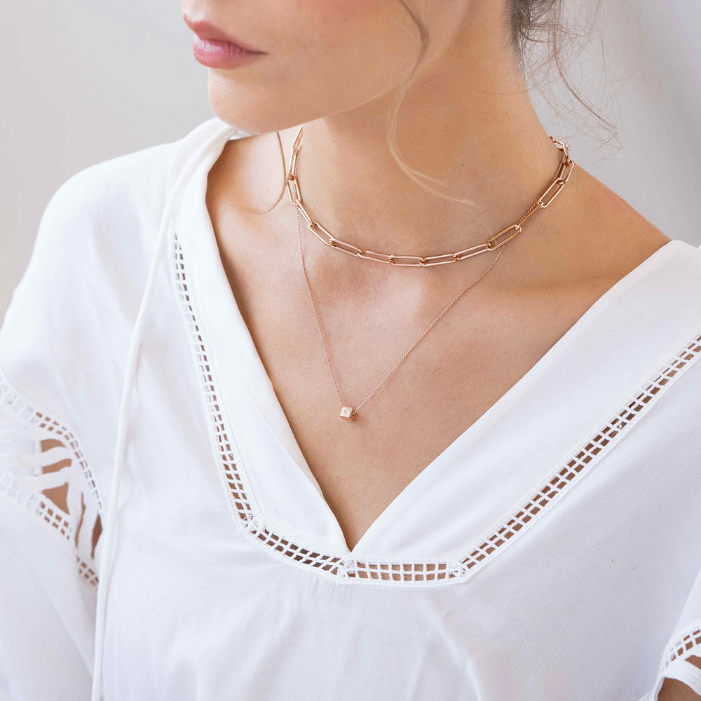 Initial Dice Necklace - Rose Gold Plating - 3