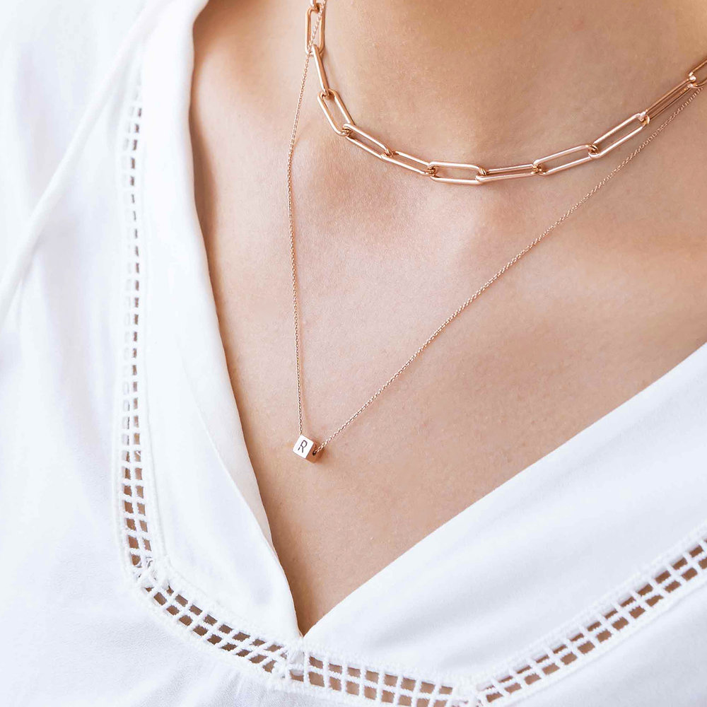 Initial Dice Necklace - Rose Gold Plating - 4