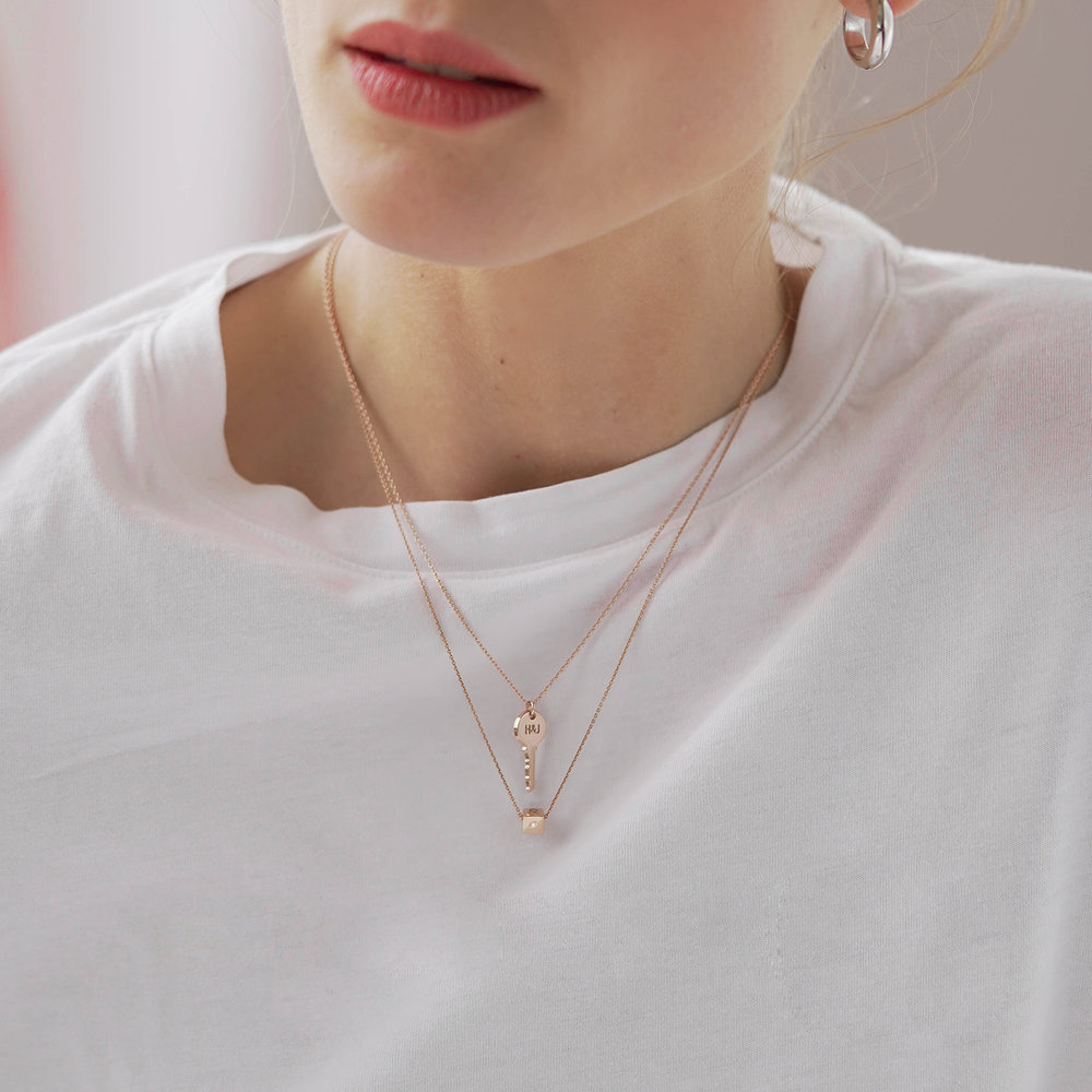 Initial Dice Necklace - Rose Gold Plating - 5