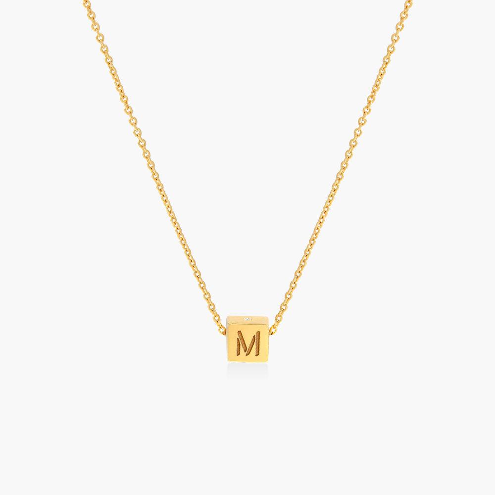 Initial Dice Necklace - Gold Vermeil