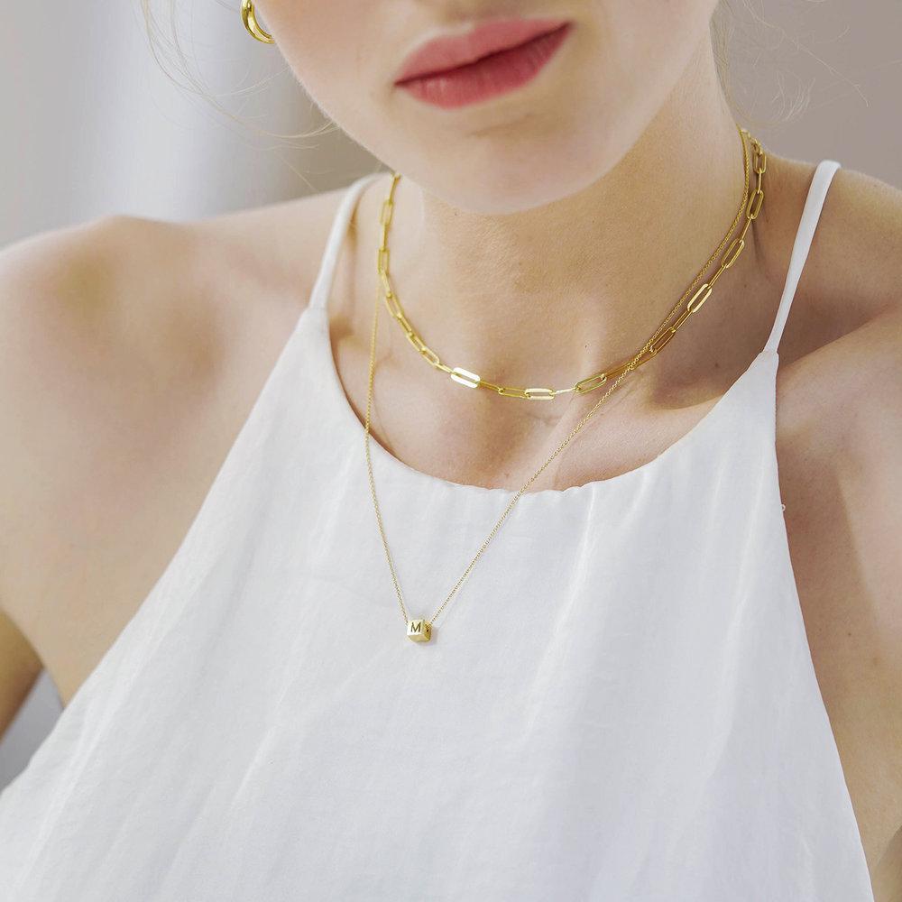 Initial Dice Necklace - Gold Vermeil - 5