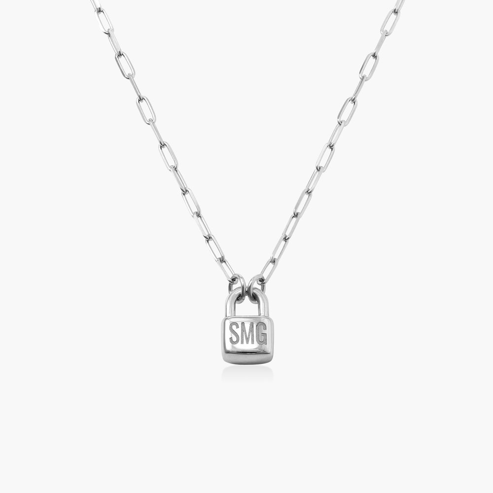 Initial Lock Necklace in Sterling Silver