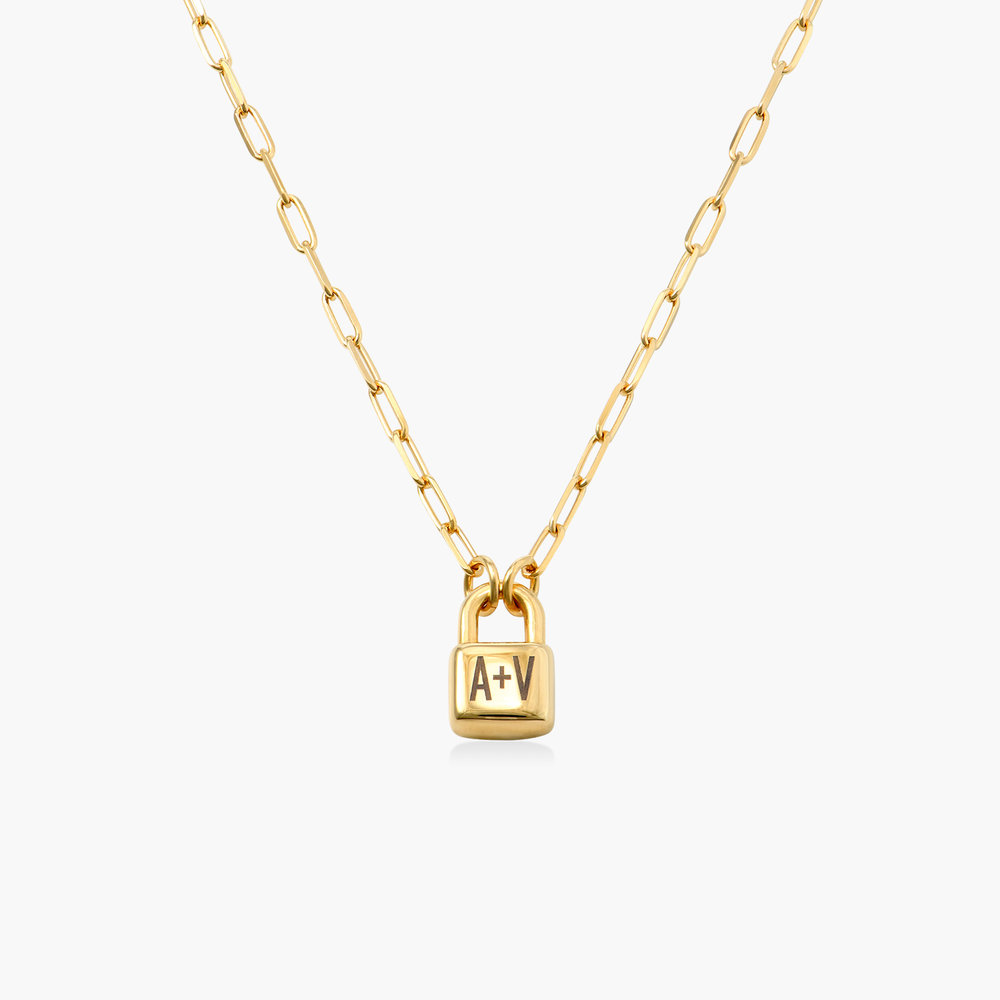 Initial Lock Necklace in Gold Plating