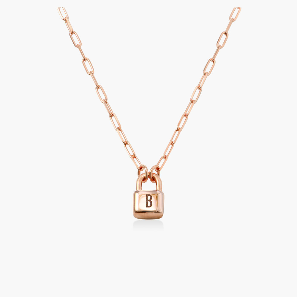 Initial Lock Necklace in Rose Gold Plating