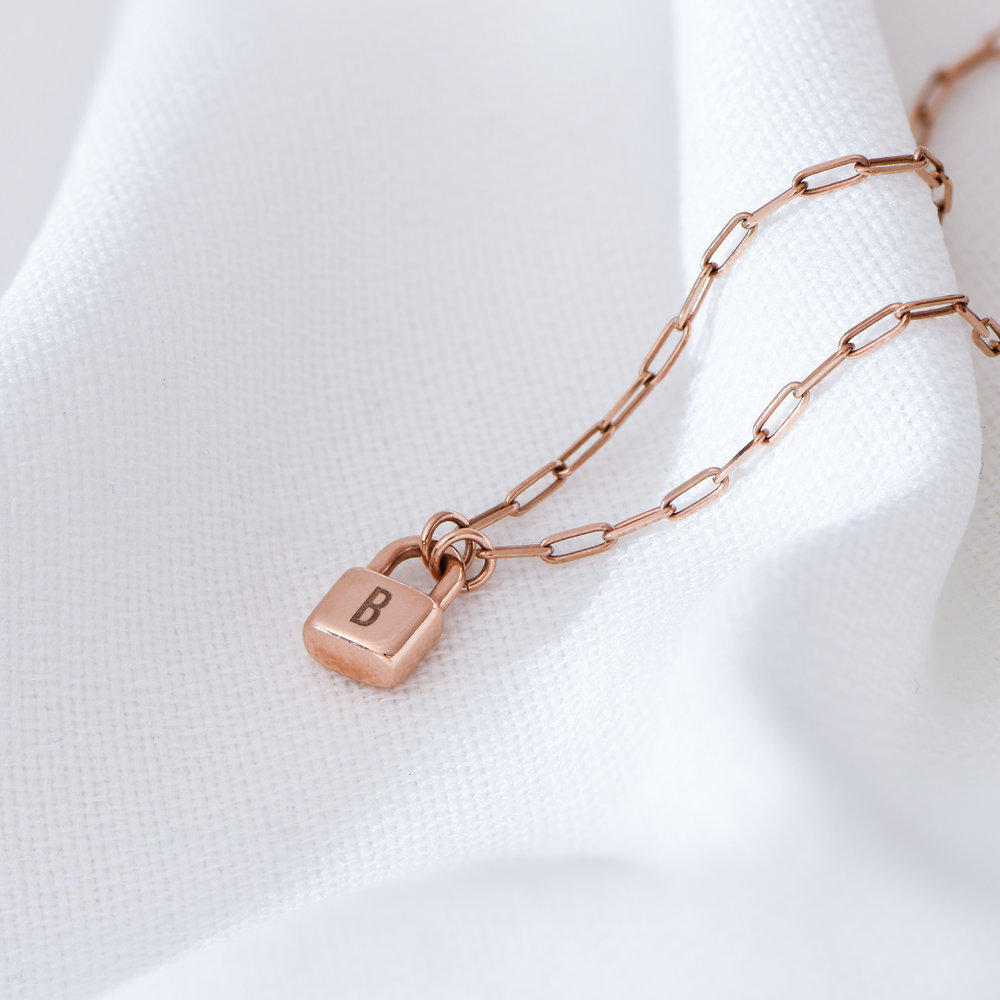 Initial Lock Necklace in Rose Gold Plating - 5