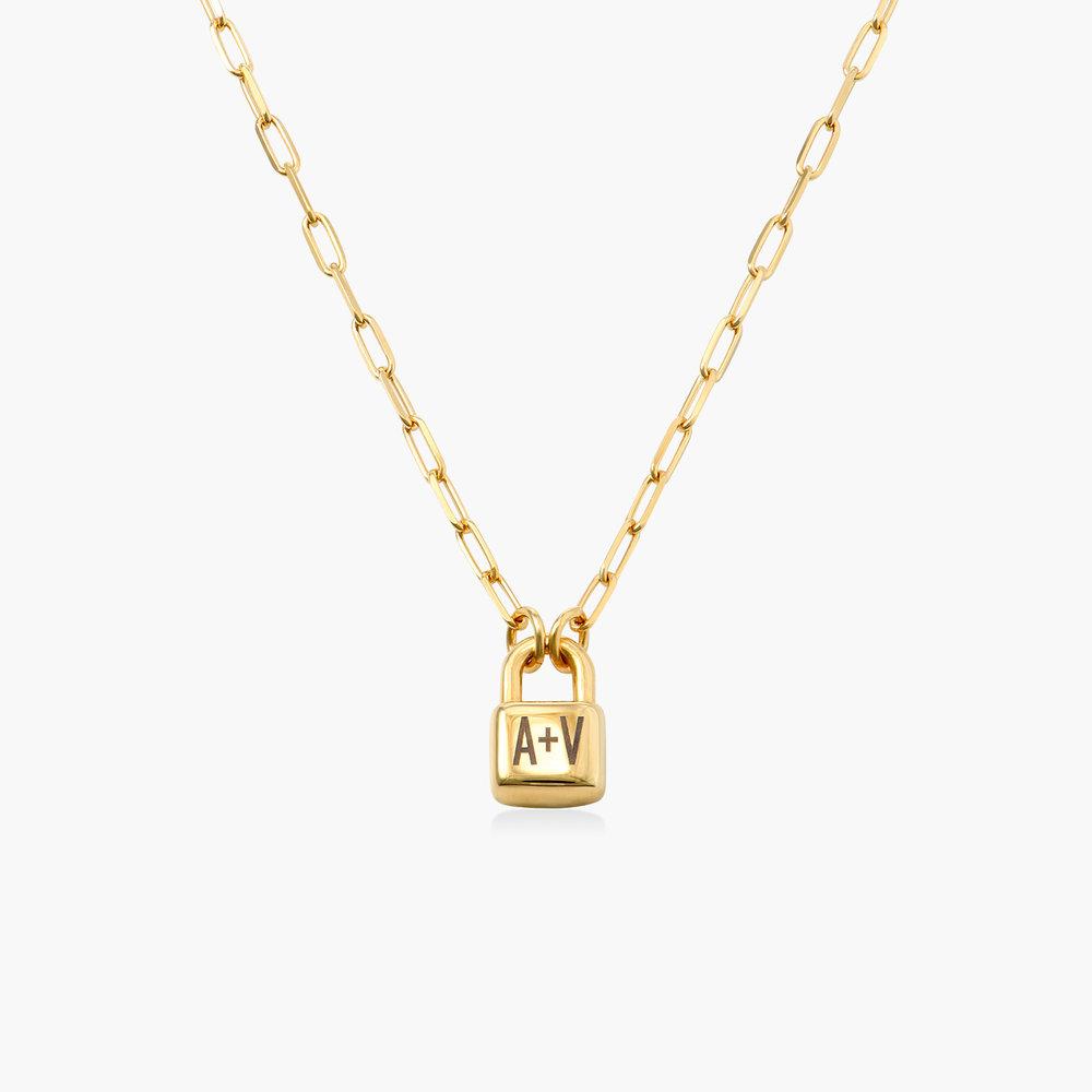 Initial Lock Necklace in Vermeil - 1