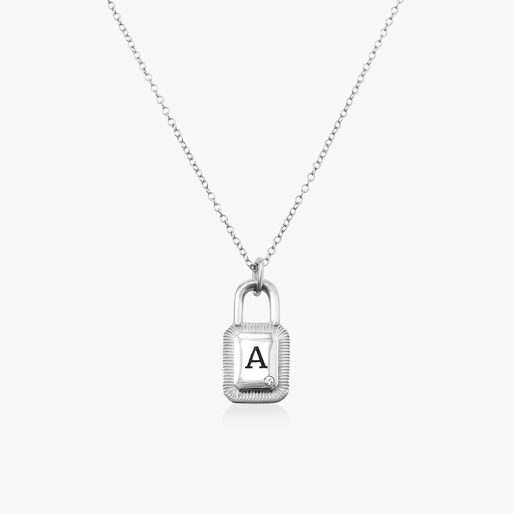 Initial Padlock Necklace - Silver with Cubic Zirconia