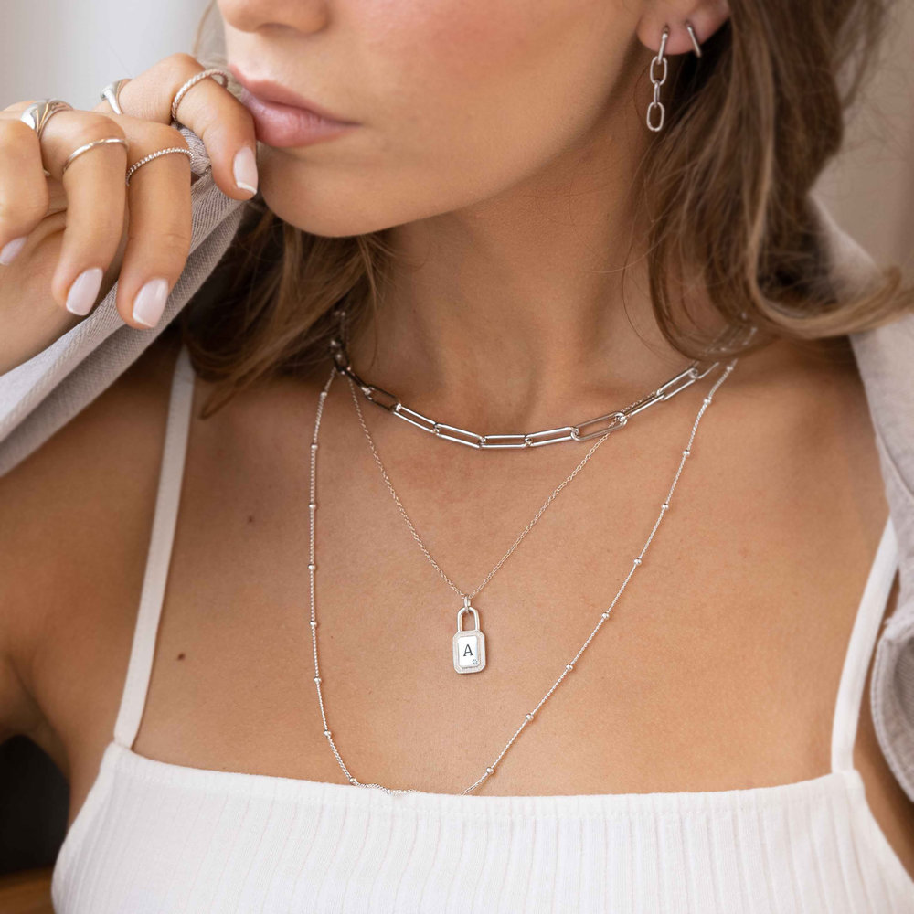 Initial Padlock Necklace - Silver with Cubic Zirconia - 1