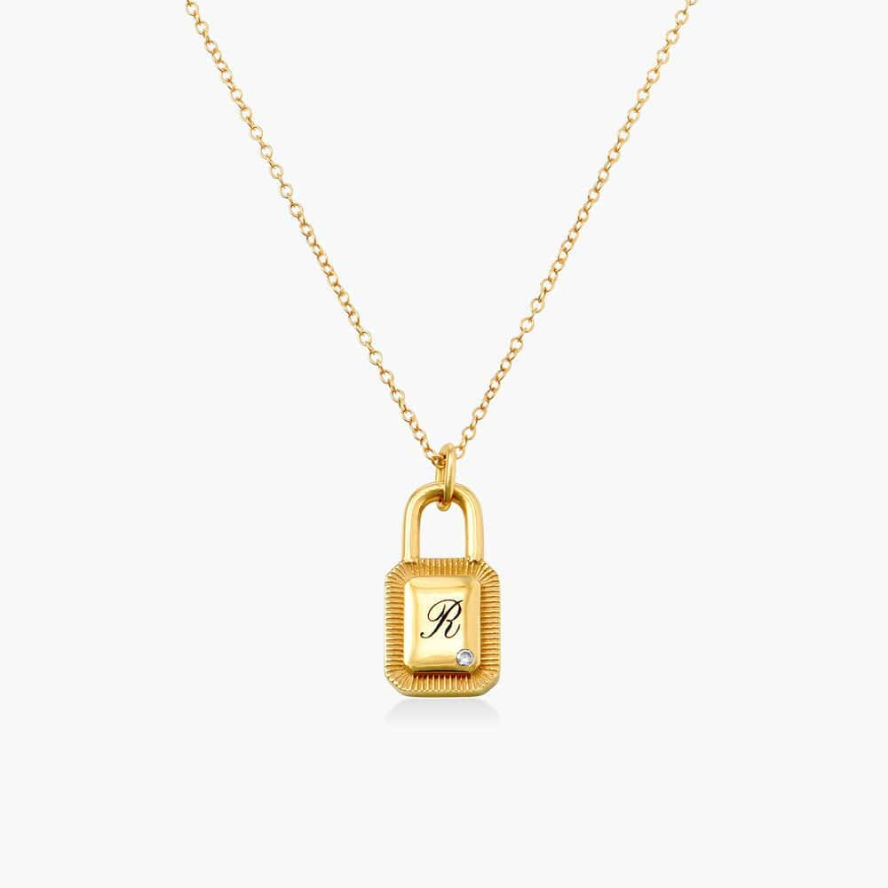 Initial Padlock Necklace - Gold Plating with Cubic Zirconia