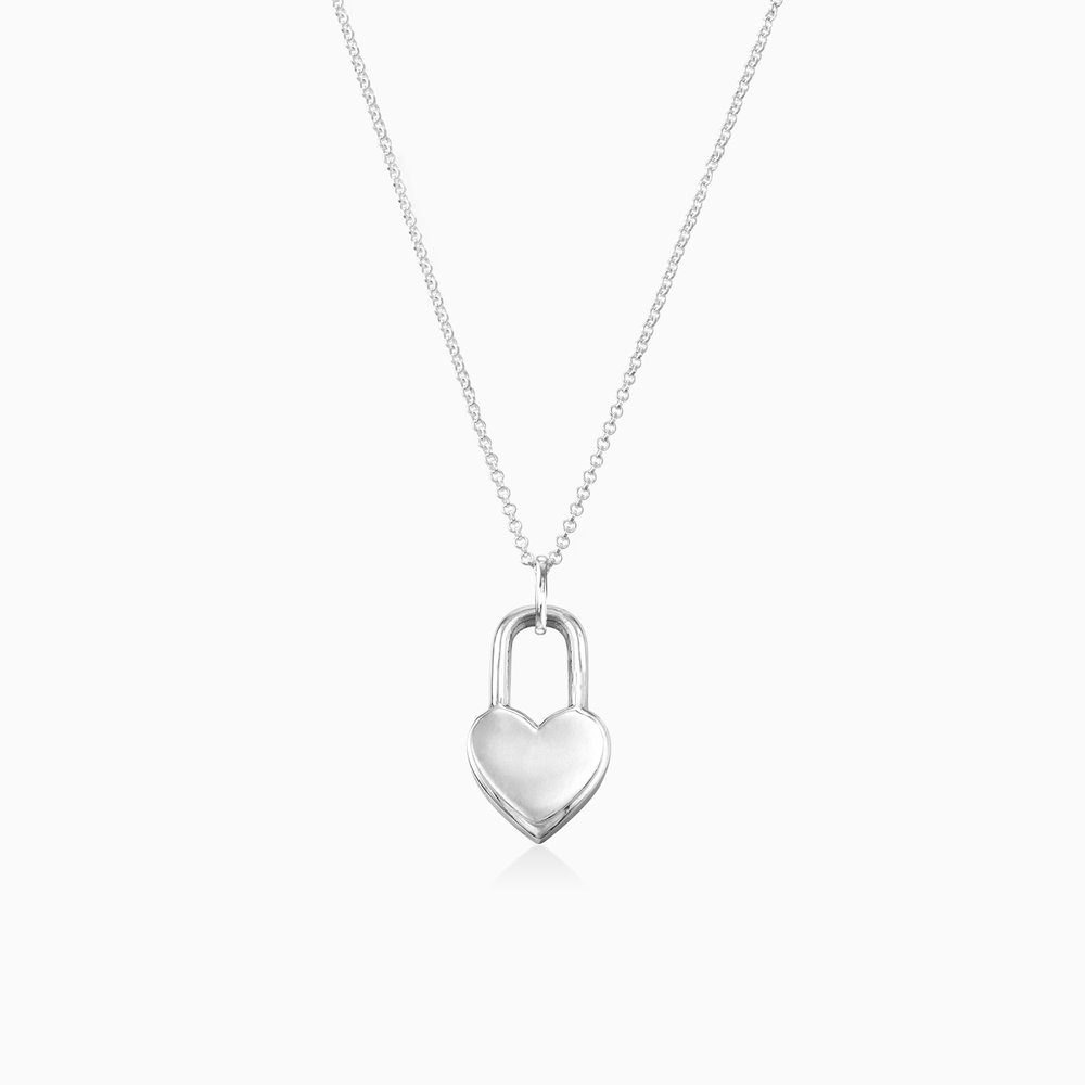 Heart Lock Necklace - Sterling Silver