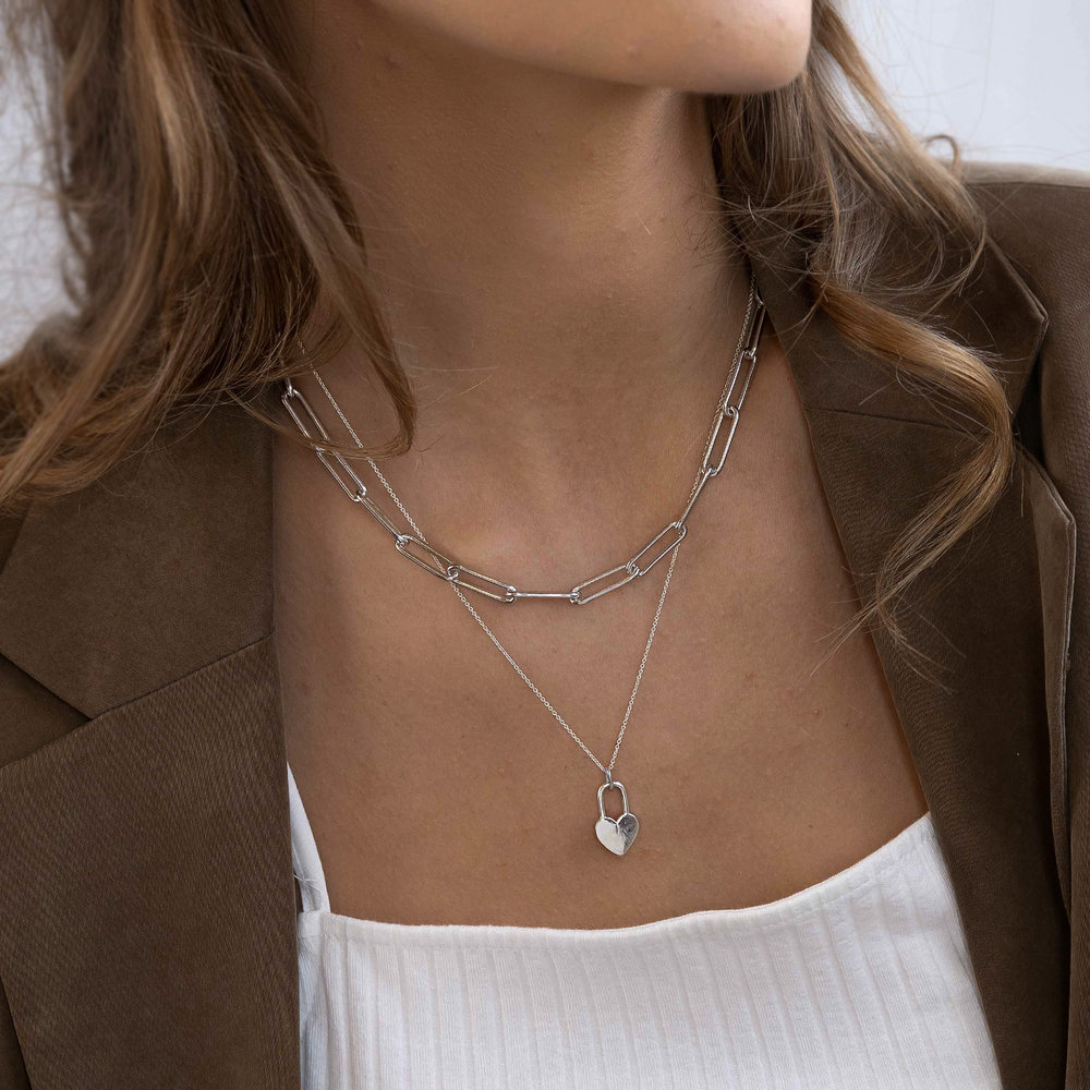 Heart Lock Necklace - Sterling Silver - 1