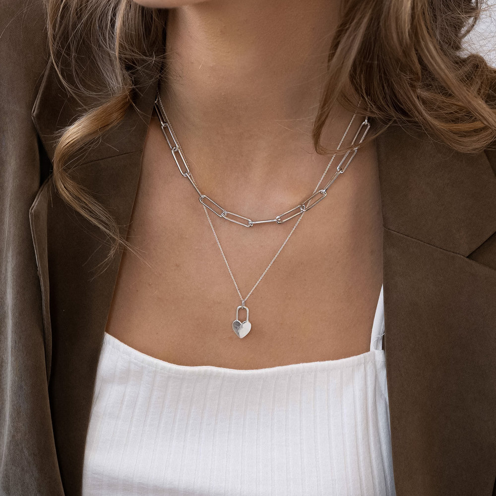 Large Paperclip Chain Necklace - Sterling Silver - 3
