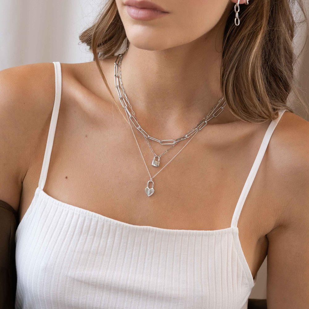 Large Paperclip Chain Necklace - Sterling Silver - 4