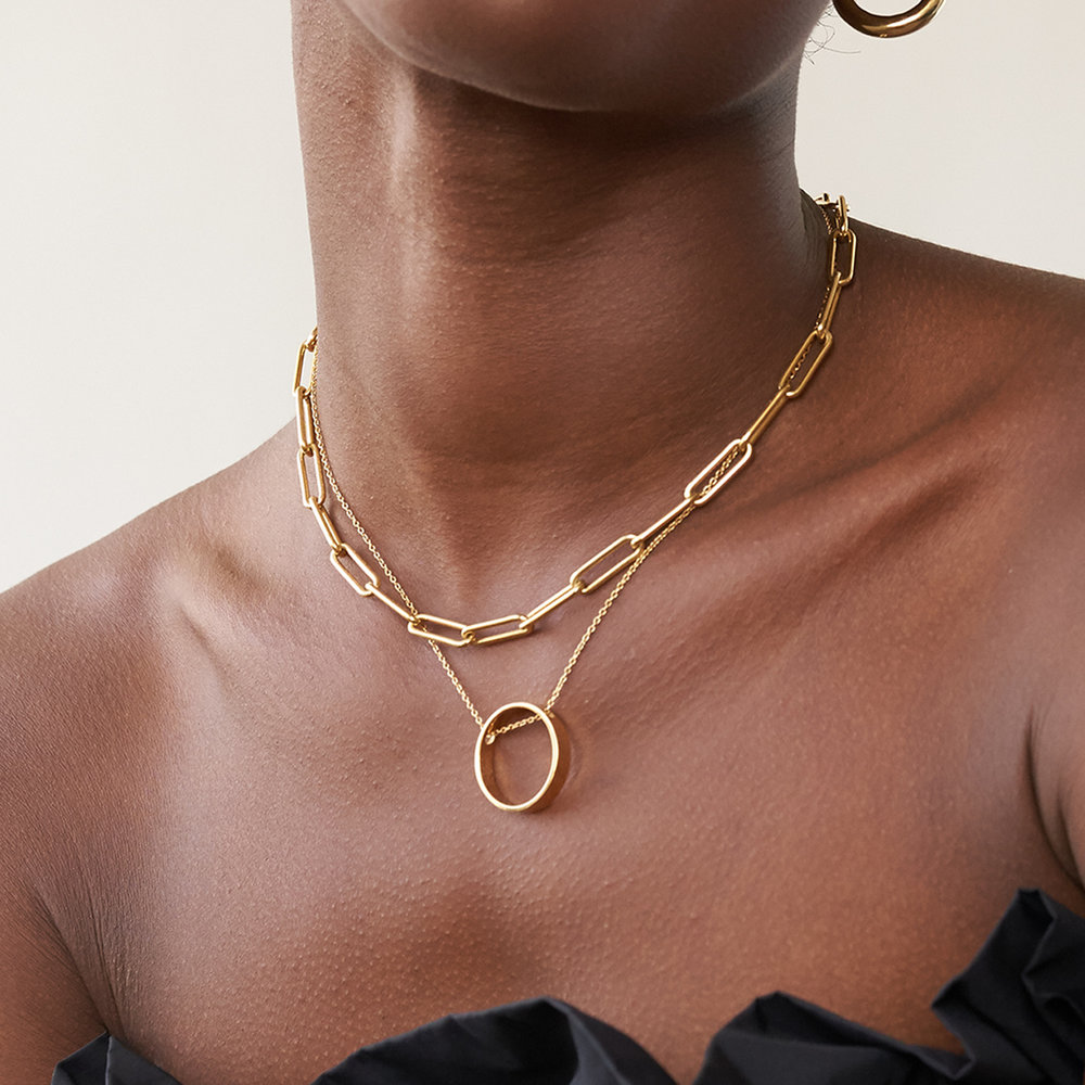 Large Link Chain Necklace - Gold Plating - 3