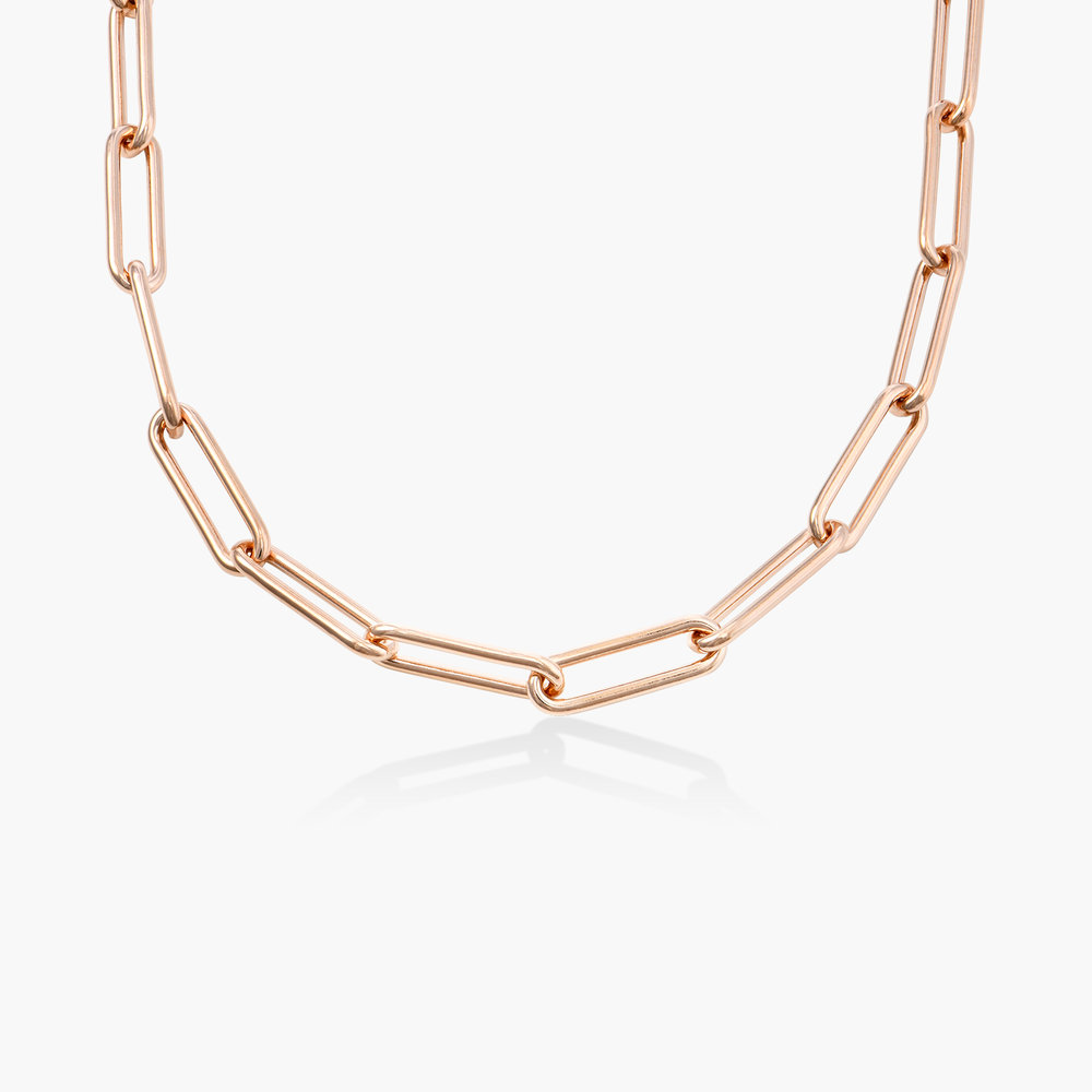 Large Paperclip Chain Necklace - Rose Gold Plating