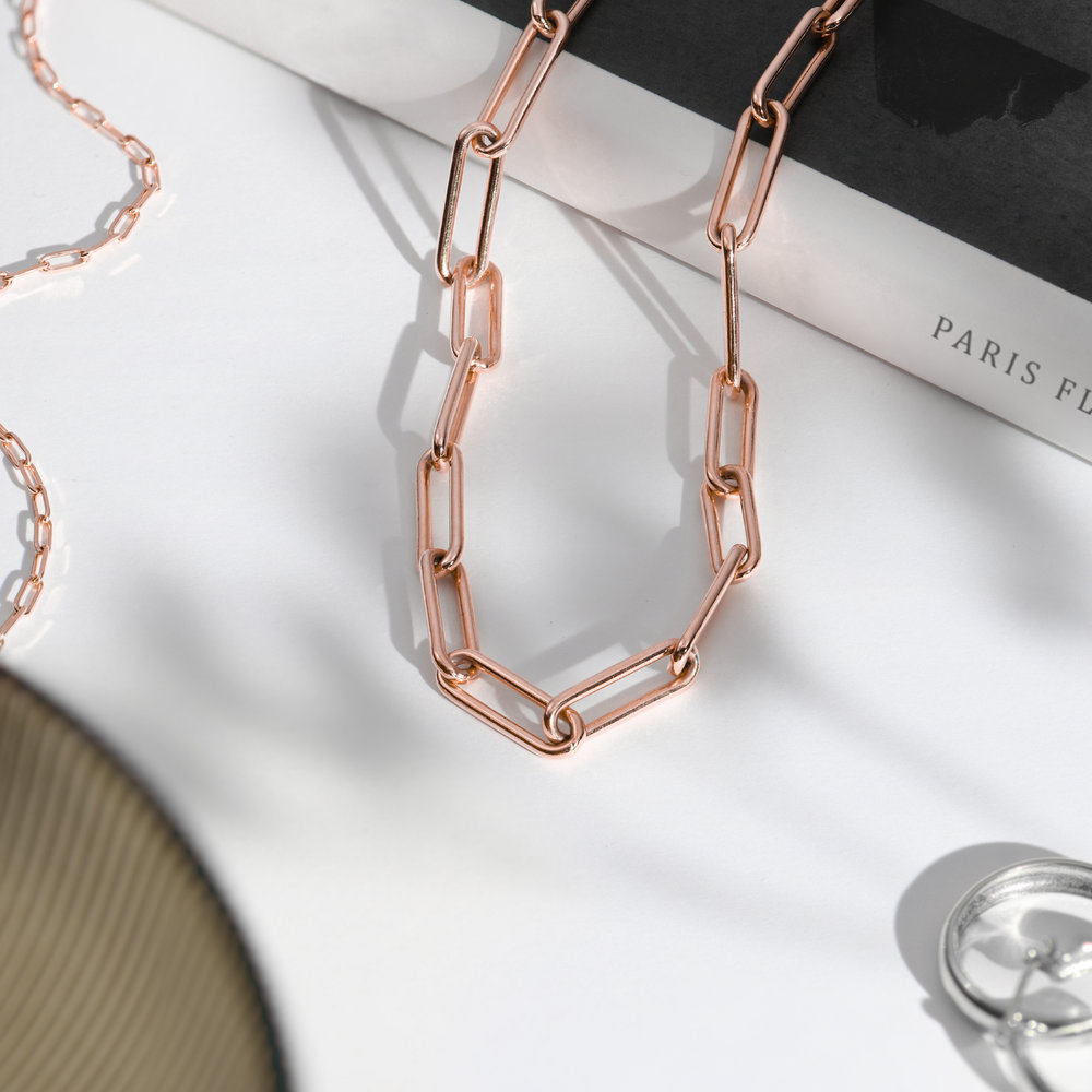 Large Link Chain Necklace - Rose Gold Plating - 1