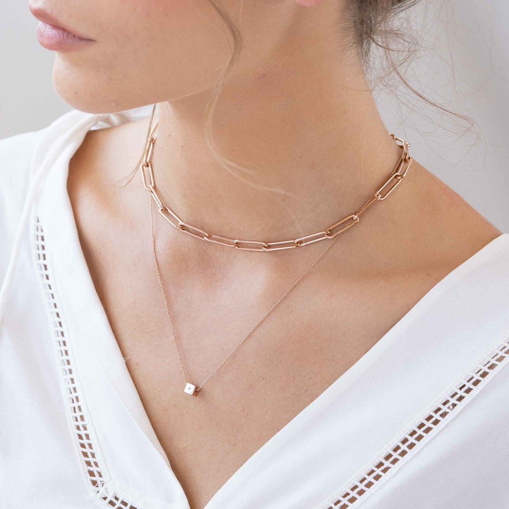 Large Link Chain Necklace - Rose Gold Plating - 3