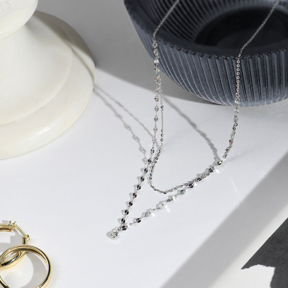 Double Chain Necklace - Sterling Silver - 1