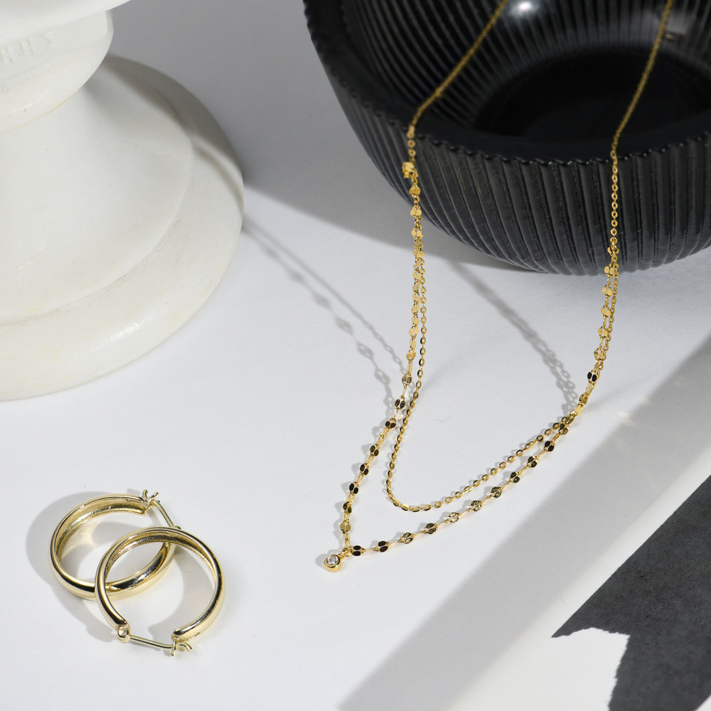 Double Chain Necklace - Gold Plating - 1