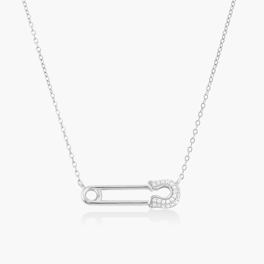 Safety Pin Necklace with Cubic Zirconia - Sterling Silver