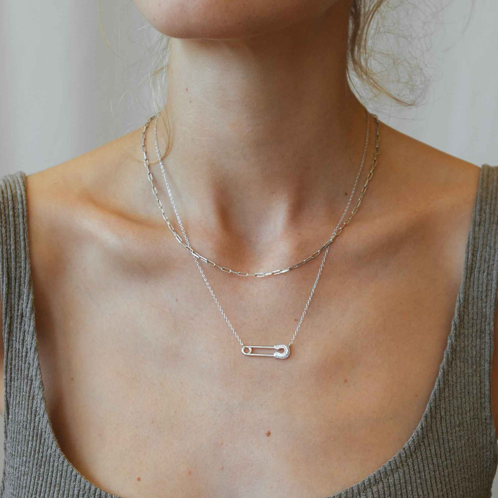 Safety Pin Necklace with Cubic Zirconia - Sterling Silver - 1
