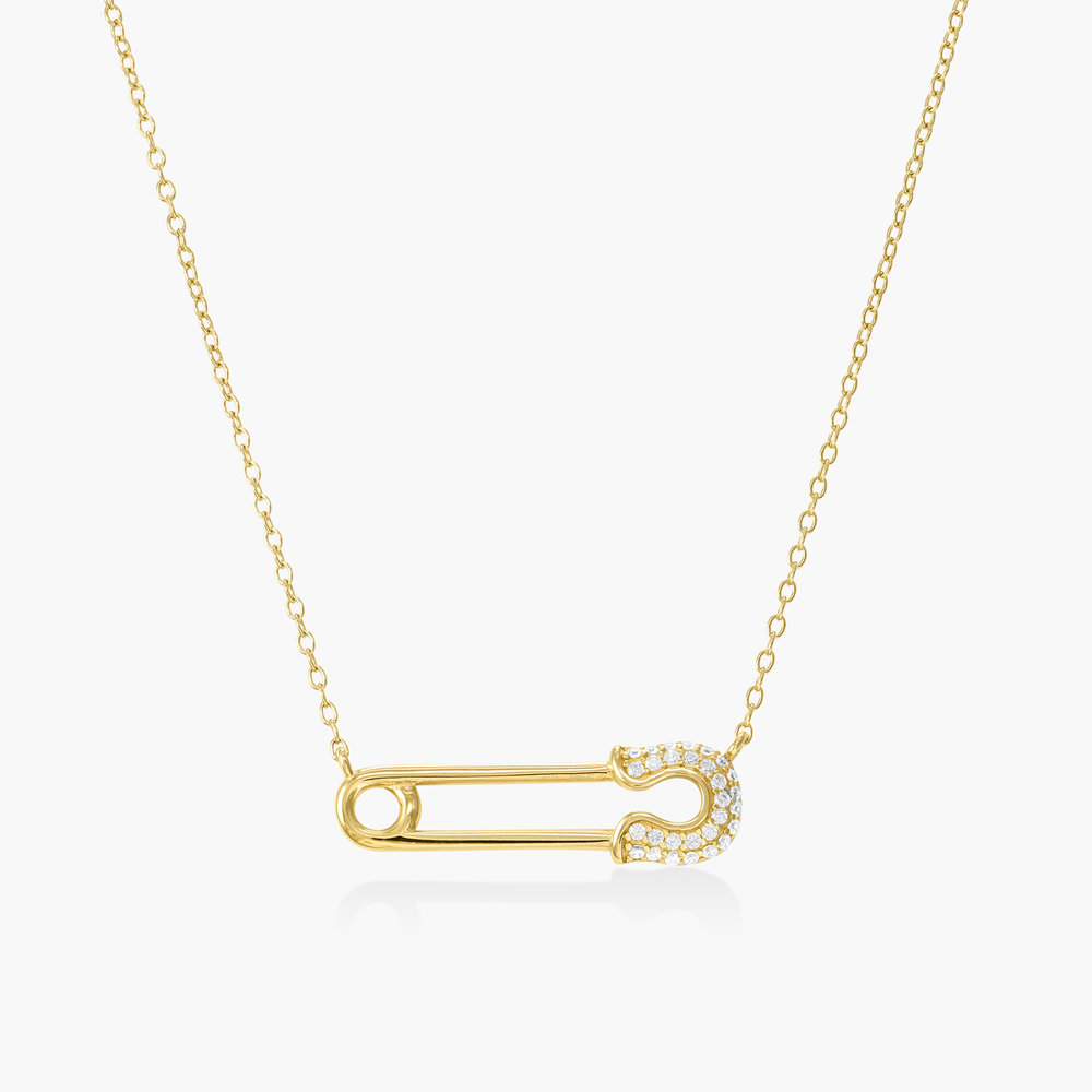Safety Pin Necklace with Cubic Zirconia - Gold Plating