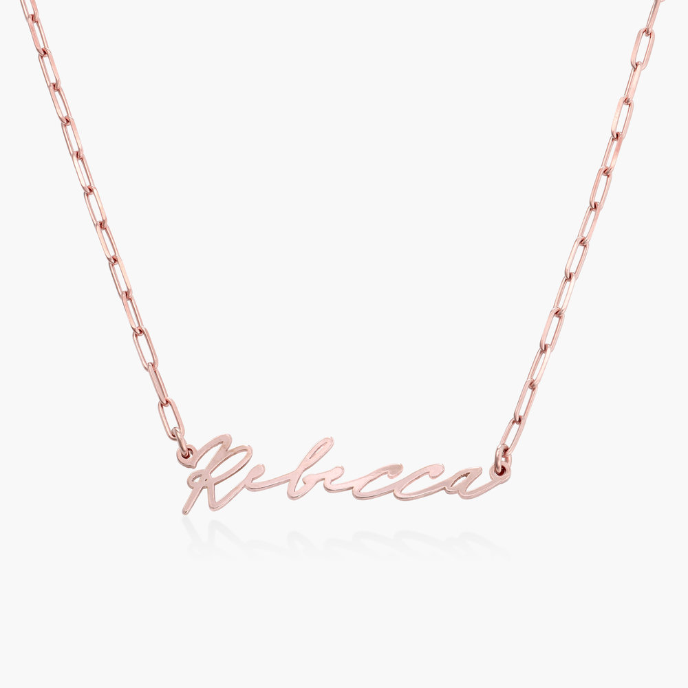 Coco Name Link Necklace - Rose Gold Plating