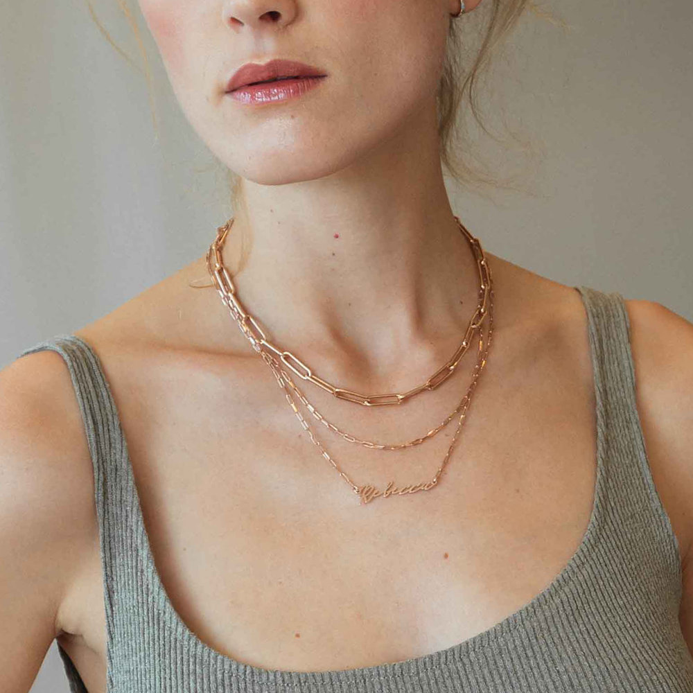 Coco Name Link Necklace - Rose Gold Plating - 1