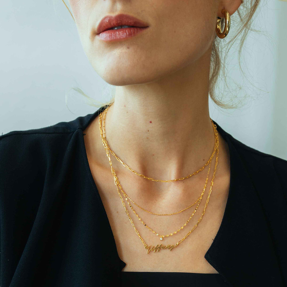 Coco Name Link Necklace - Gold Vermeil - 1