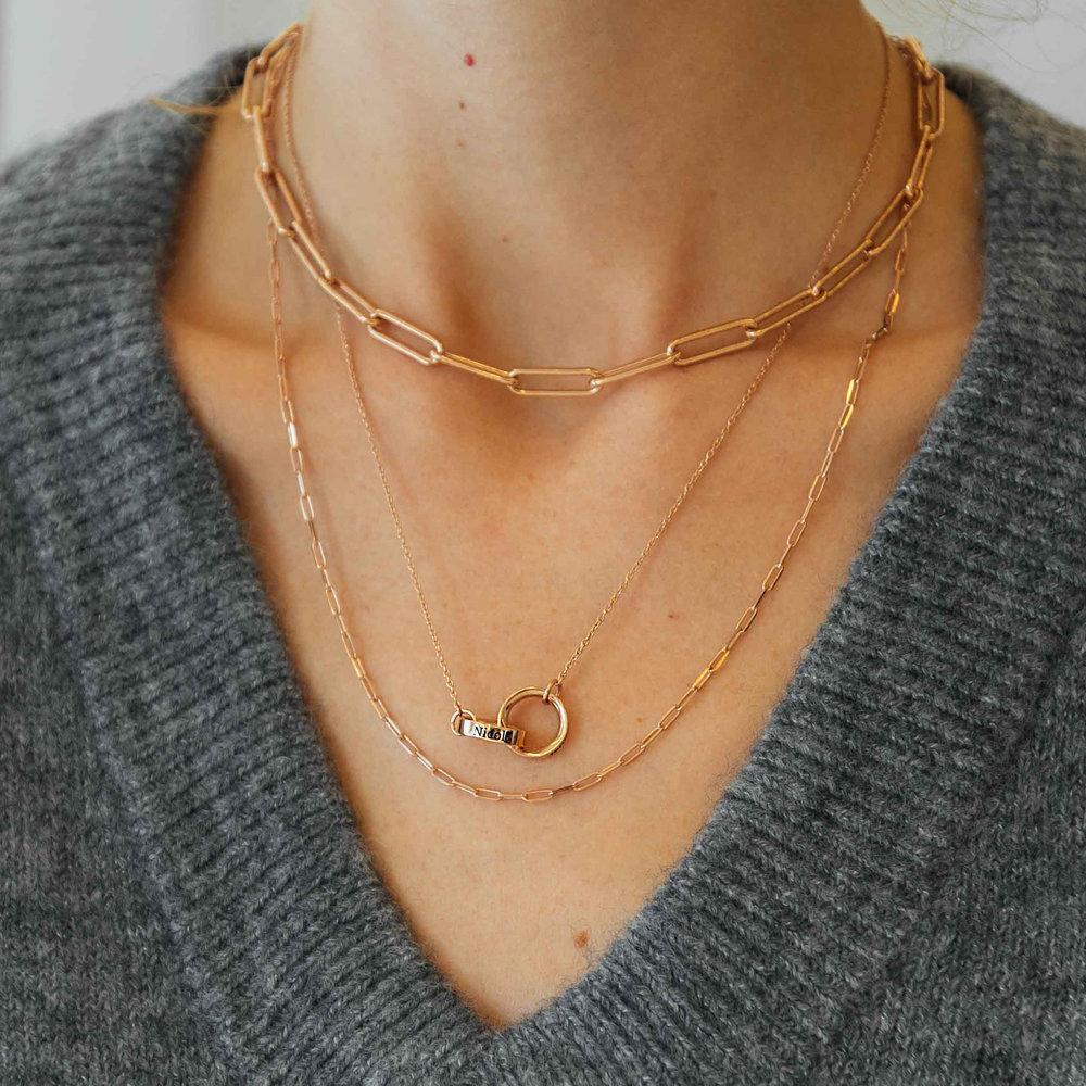 Interlocking Circle Necklace - Rose Gold Plating - 3