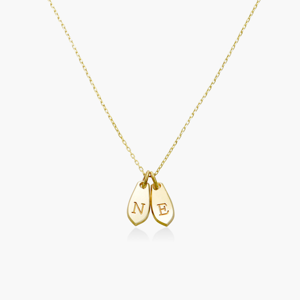 Willow Drop Initial Necklace - 14K Solid Gold