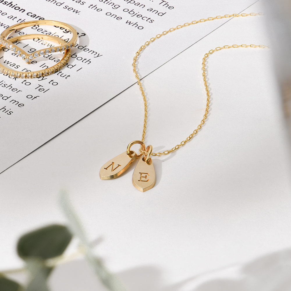 Willow Drop Initial Necklace - 14K Solid Gold - 1