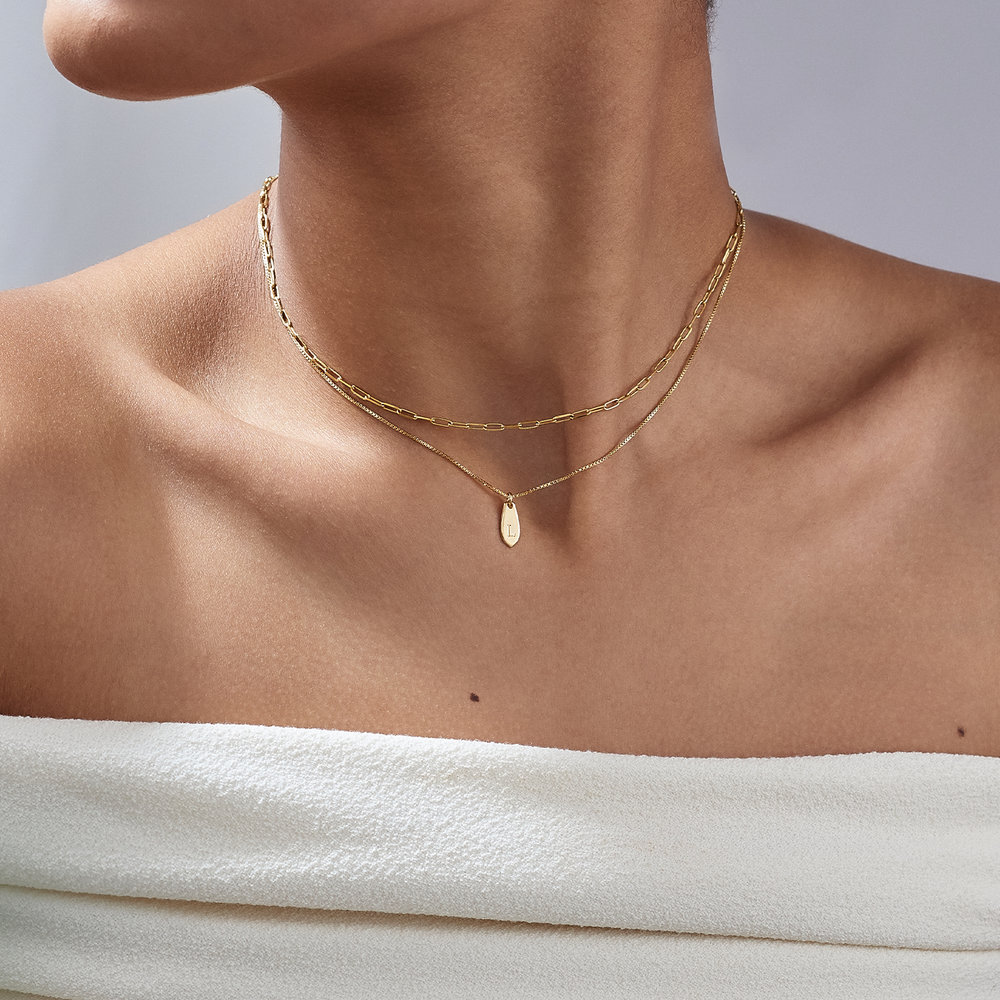 Willow Drop Initial Necklace - 14K Solid Gold - 3