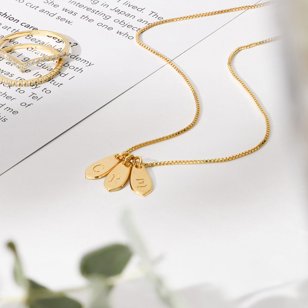 Willow Drop Initial Necklace - Gold Plating - 2