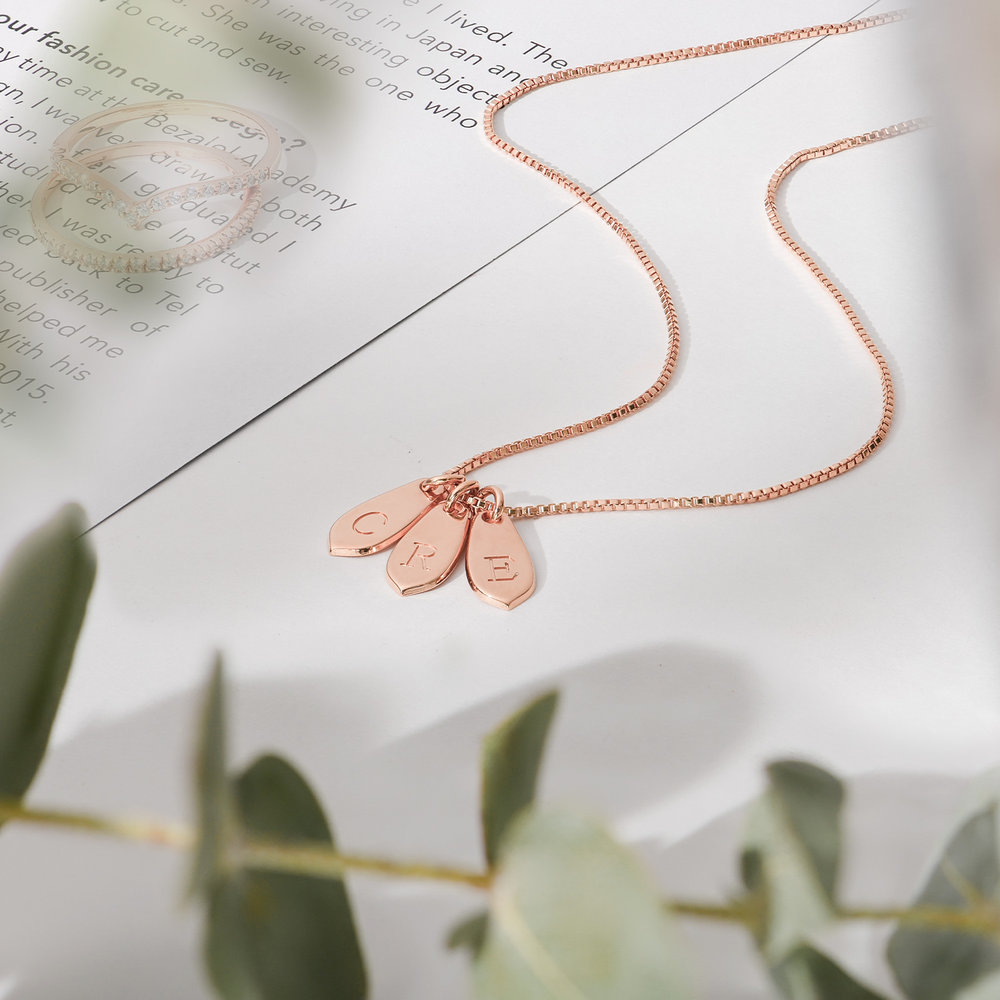 Willow Drop Initial Necklace - Rose Gold Plating - 1