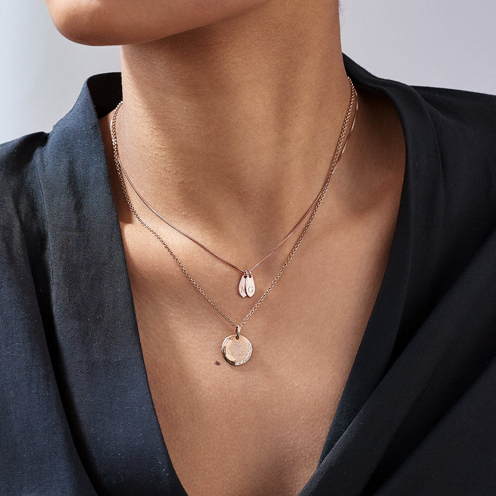 Willow Drop Initial Necklace - Rose Gold Plating - 3