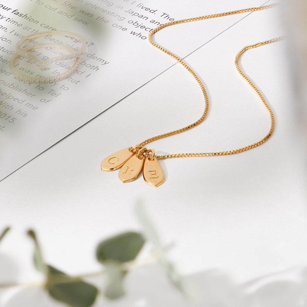 Willow Drop Initial Necklace - Gold Vermeil - 2