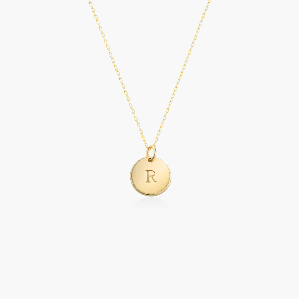 Willow Disc Initial Necklace - 14K Solid Gold