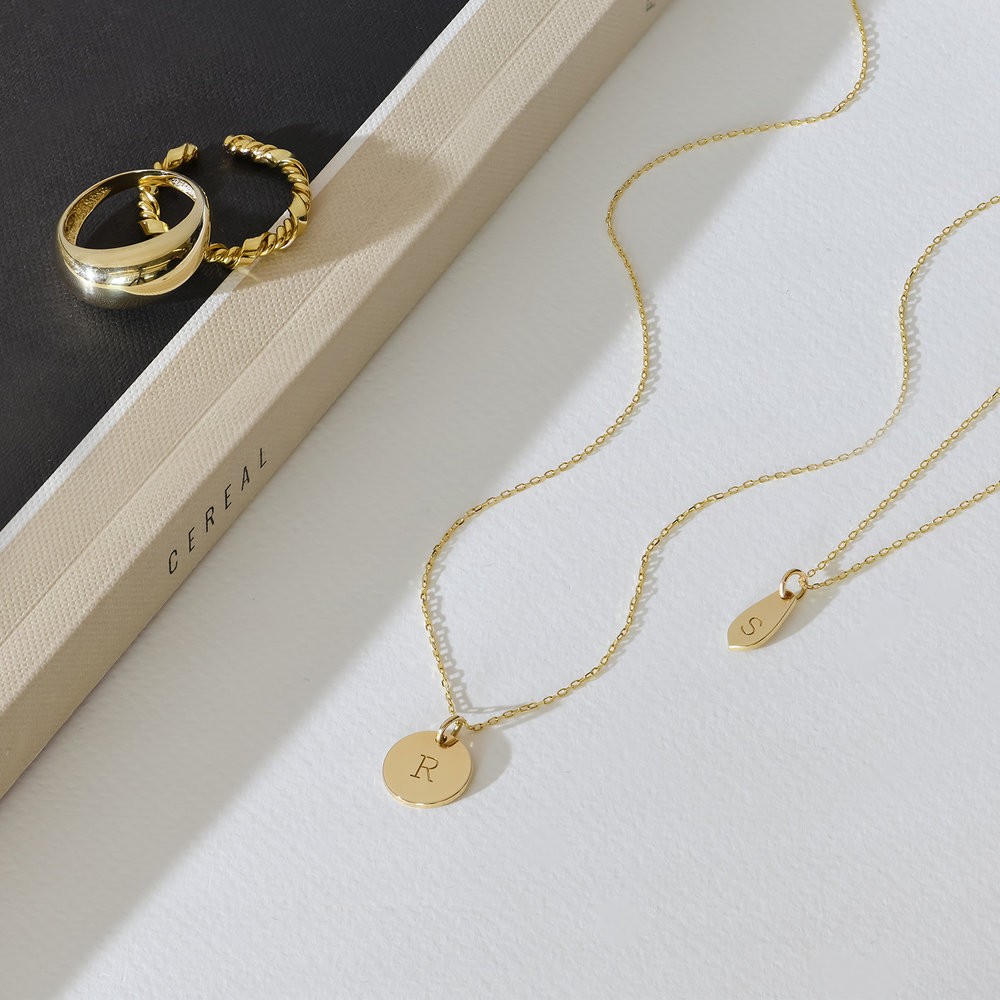 Willow Disc Initial Necklace - 14K Solid Gold - 1