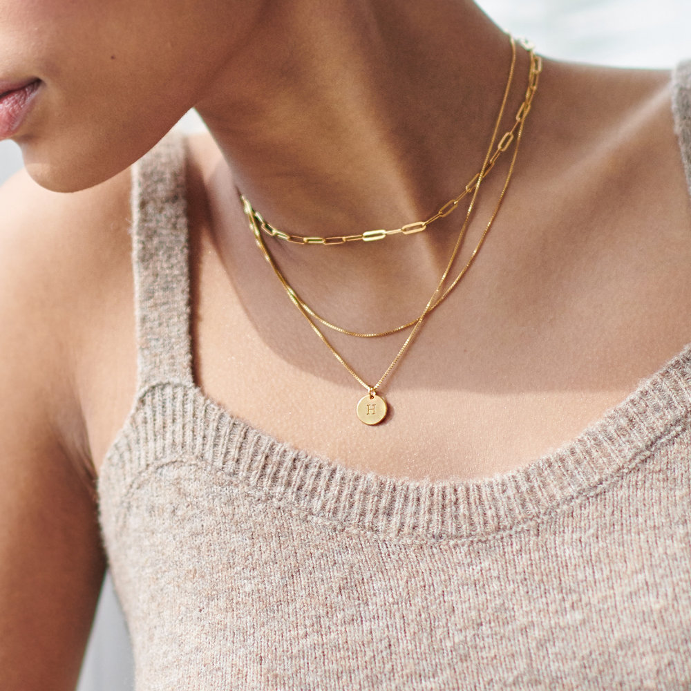 Willow Disc Initial Necklace - 14K Solid Gold - 2