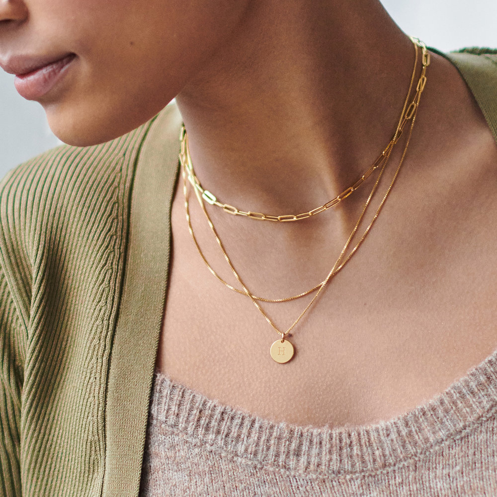 Willow Disc Initial Necklace - Gold Plating - 2