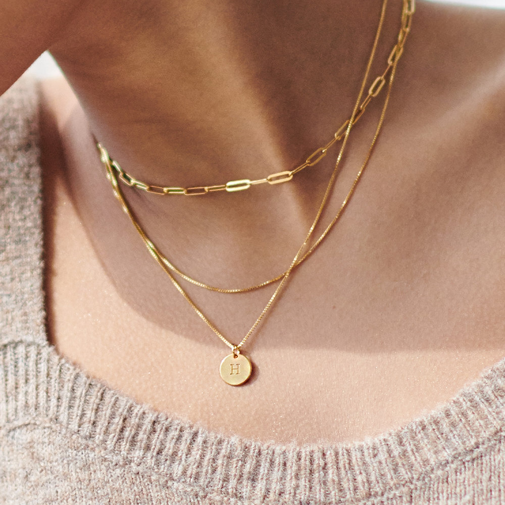 Willow Disc Initial Necklace - Gold Plating - 3